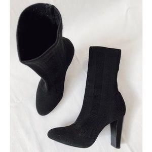 Charles David Shirley black knit sock heel bootie